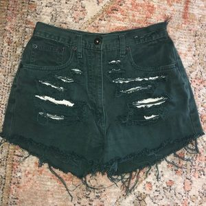 Vintage Distressed High Rise Jean Shorts
